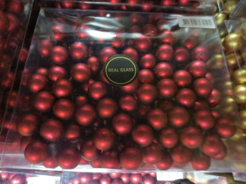 24 weihnachts kugeln aus glas matt und gl nzend gemischt 25 mm farbe dunkelrot am draht. Black Bedroom Furniture Sets. Home Design Ideas
